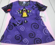 NWT Disney Snow White Nurses Scrub Top sz XS (missy fit) purple/black Tooniforms
