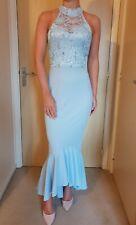 £70 EX QUIZ Sky Blue Lace Sequin Halterneck Maxi Evening Bridesmaid Dress 8-18