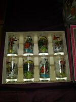 Set of Eight Anchor Hocking Gay Nineties Bar Cocktail Glasses Vintage Painted