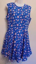 H&M UK14 EU42 US10 new blue floral sleeveless lined skater/full skirt dress