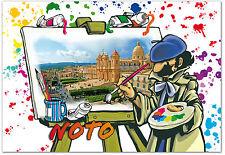 CARTOLINA PITTORE CATTEDRALE NOTO BAROCCO UNESCO SICILIA SICILY POSTCARD