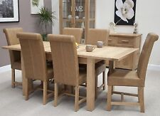 Eton solid oak furniture extending dining table with six leather chairs set