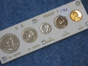 1961 United States Gem Silver Proof Set in White Capital Lucite B8706