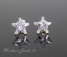 REAL SOLID 925 STERLING SILVER 8mm Simulated Diamond Star Unisex Earrings Stud