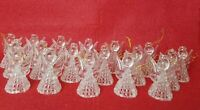 18 Vintage Hong Kong Angel Christmas Ornaments Lot Clear Plastic Lattice Cut Out