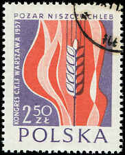 Scott # 788 - 1957 - ' Grain & Flames ', Intl Fire Brigade Conf - Warsaw
