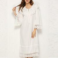 Women Retro Victorian Nightdress Lolita Nightgown Sleepwears Ruffle Flare Sleeve