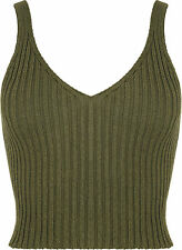 New Womens Stretch Sleeveless Ribbed Knitted Cropped Short Vest Ladies Top 8-14