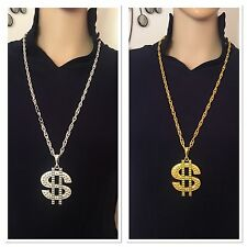 Gold Silver Dollar Sign Necklace Gangster Pimp Hip Hop Fashion Pendant Chain