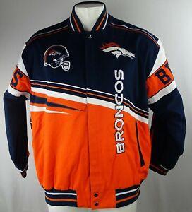 Denver Broncos NFL Men's Navy Blue & Orange Snap Up Varsity Jacket