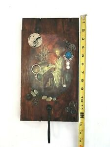 MIXED MEDIA DECOUPAGE Wall Plaque Alchemist Clock Gears w Hook Remedios Vi Sino