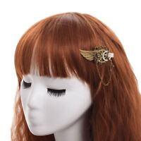 Vintage Girls Hairclip Hair Pin Gear Wing Chain Steampunk Goth Women Headwear