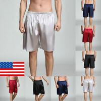 Men's Silk Satin Sleepwear Pajama Pants Boxers Beach Shorts Pyjamas Nightwear US