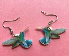Fun Earrings Humingbird blue green