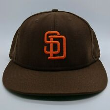 NEW ERA San Diego Padres MLB Logo Hat 59FIFTY Cooperstown Fitted Cap 7 1/4 Brown