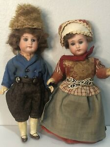 "Lot Of 2 Armand Marseille Antique Bisque Miniature 5 1/2""Dollhouse Dolls Germany"