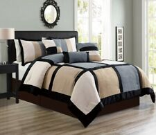 7 Pc CAL KING Grey Beige Black Micro Suede Patchwork Comforter Set Bed In A Bag