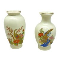 "Vintage LOT 2  Otagiri Japan Bud Vases Pheasant & Flowers 3 7/8"" Tall"