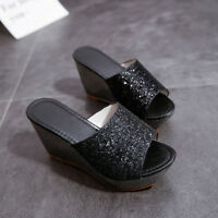 Summer Women's Wedge Slipper Slip On Platform Shoes Casual High Heel Sandals New