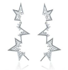 Spiky Abstract Silver Stars Drop Dangle Crystal Earrings UK