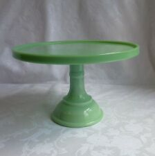 "LE Smith Glass 10"" Pedestal Cake Plate Jadite marked ""Martha By Mail"" Stewart"