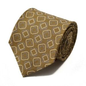 New $230 ISAIA NAPOLI 7-Fold Ochre Brown Geometric Print Linen Tie