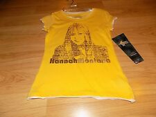 Girls Size Small 7-8 Disney Hannah Montana Miley Cyrus Yellow & Gold T Shirt Top