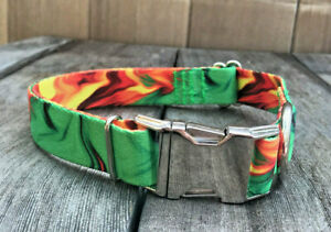 1 inch Colorful Green and Gold Adjustable Dog Collar with Metal Buckle USA Made