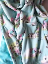 Teal Kitty MicroFleece w/ Minky Backing 50X50 For Baby thru Child Sized Afghan