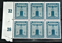 WW2 GERMAN ORIGINAL 3rd REICH ERA BLOCK 6 OFFICIAL STAMPS MINT NEVER USED MNH