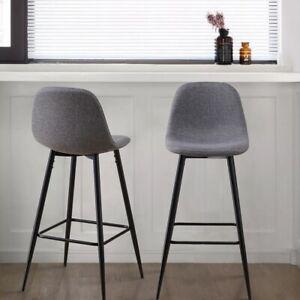 2x Grey Fabric Bar Stools Metal Leg Breakfast Pub Chair Kitchen Furniture Modern