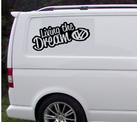 "X2 Living The Dream VW LARGE 17"" JDM DUB Drift Vinyl Decal Car Sticker Bumper"