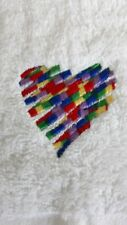 Rainbow heart machine embroidered face washer novelty gift. Flannel, baby unisex
