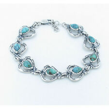 925 Sterling Silver Natural Grade A Royston Turquoise Mine Heart Linked Bracelet