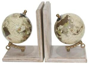 Pair of World Globe Bookends - Contemporary Style - Wood Base
