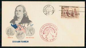 Mayfairstamps Habana FDC 1956 Benjamin Franklin Printing Press Liberty Bell Firs