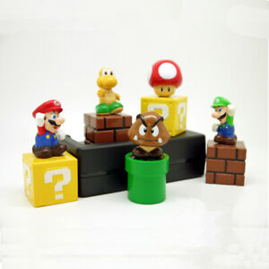 Super Mario Bros Luigi 5 PCS Action Figure Kids Toy Doll Gift Cake Topper Decor