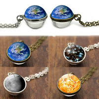 Unique Jewelry Planet Pendant Double Sided Galaxy Ball Solar System Necklace