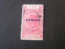 "**SAMOA, SCOTT # 159, 1 POUND VALUE PINK 1932 NZ POSTAL-FISCAL OVPT ""SAMOA"" USED"
