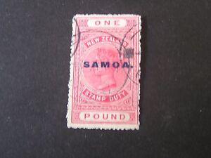 "**SAMOA, SCOTT # 159, 1 POUND VALUE PINK 1932 NZ POSTAL-FISCAL OVPT ""SAMOA"" USED"