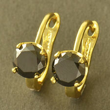 Korean Black Onyx 9K yellow Gold filled  lucky Womens U-Shape hoop Earrings