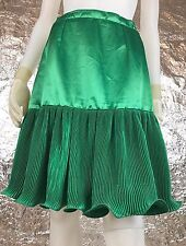 Women's Vintage 1970's Green Satin Micro Pleated Skirt, Size M, Pre-Owned.