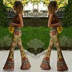 Women's Casual Floral Print Boho Loose Wide Leg Gypsy Long Pants Palazzo Trouser