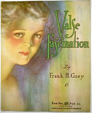 Valse Fascination By Frank Grey Pastel Portrait of Pretty Woman 1917 Sheet Music