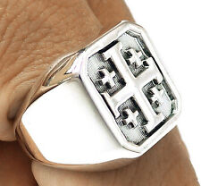 CRUSADER KNIGHT CROSS OF JERUSALEM SOLID 925 STERLING SILVER MENS RING Sz 7 NEW