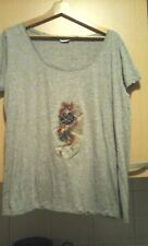Gray shirt Size XL with dragon and rose pattern