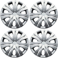 1012 Universal Wheel Cover ABS Wheel Skins Set Hub Caps Silver 16'' -Set of 4