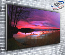 Purple Sunset Scenic Panoramic Canvas Print XXL 4 foot wide x 1.5 foot high