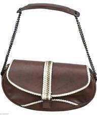 GIUSEPPE ZANOTTI Shoulder Bag Brown Leather Purse Handbag Gold Chain