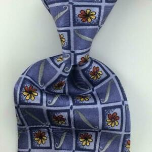Robert Talbott  Tie Best Of Class Gray Gold Square Flower Silk Necktie New #3b
